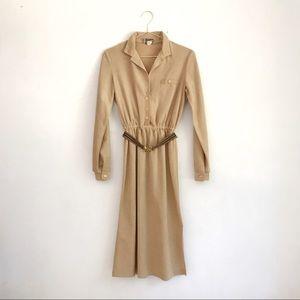 Vintage 1979s Tan Velour Suede Shirt Dress